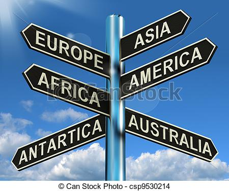 Drawing of Europe Asia America Africa Antartica Australia Signpost.