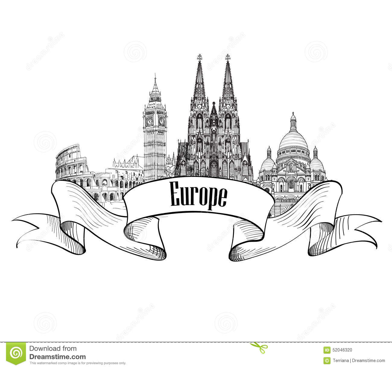 Europe Architectural Label. Famous Buildings And Landmarks.