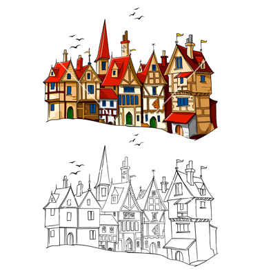 European architecture vector by LoopAll.