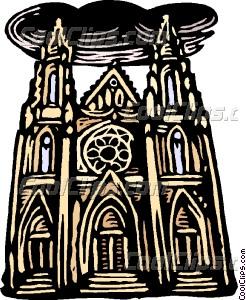 woodcut European architecture Vector Clip art.