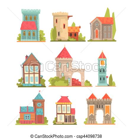 Vectors of Old And Medieval Historical Buildings Set Of European.