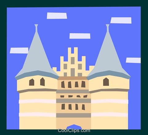 European architecture Royalty Free Vector Clip Art illustration.