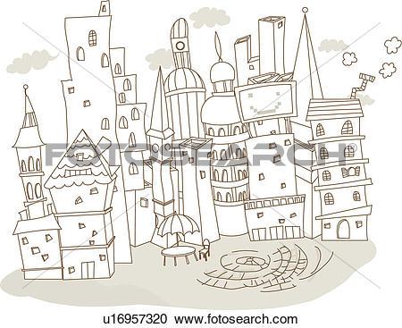 Stock Illustrations of european architecture, building, village.