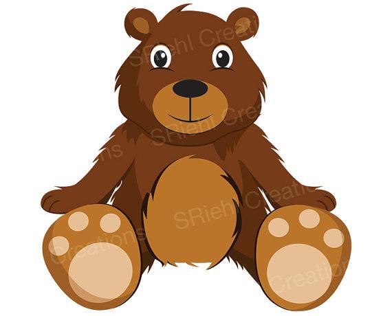 Brown bear cub clipart.