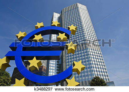 Picture of European central bank with Euro sign sculpture.