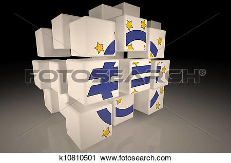 Clipart of European Central Bank symbol in chaotic cubes k10810501.