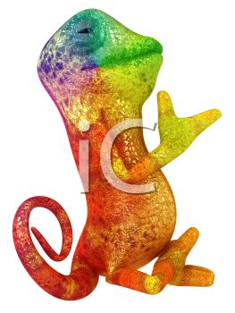 Bright Colorful 3D Chameleon.