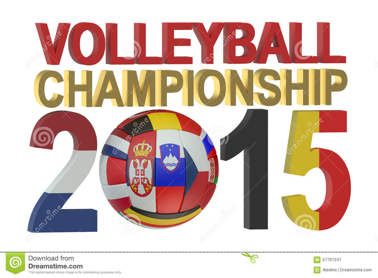 Volleyball European Womens Championship 2015 Concept Stock.