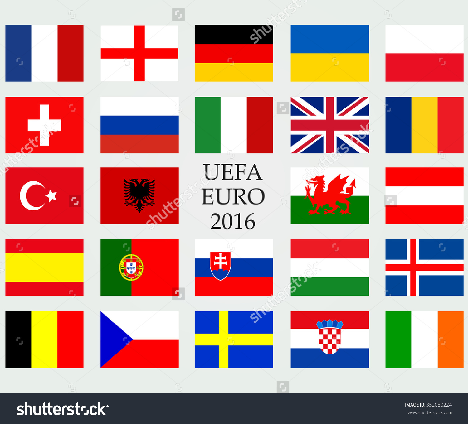 Uefa Euro 2016 Member Countries Vector Stock Vector 352080224.