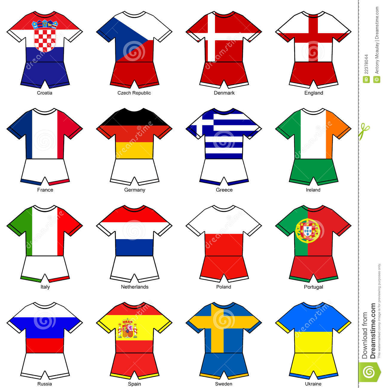 Euro 2012 European Championship Flag Strips Stock Images.