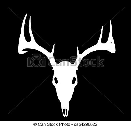 Clip Art of European Deer Silhouette White on Black.