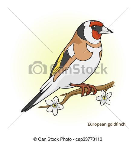 Vector Clip Art of European goldfinch bird educational game vector.