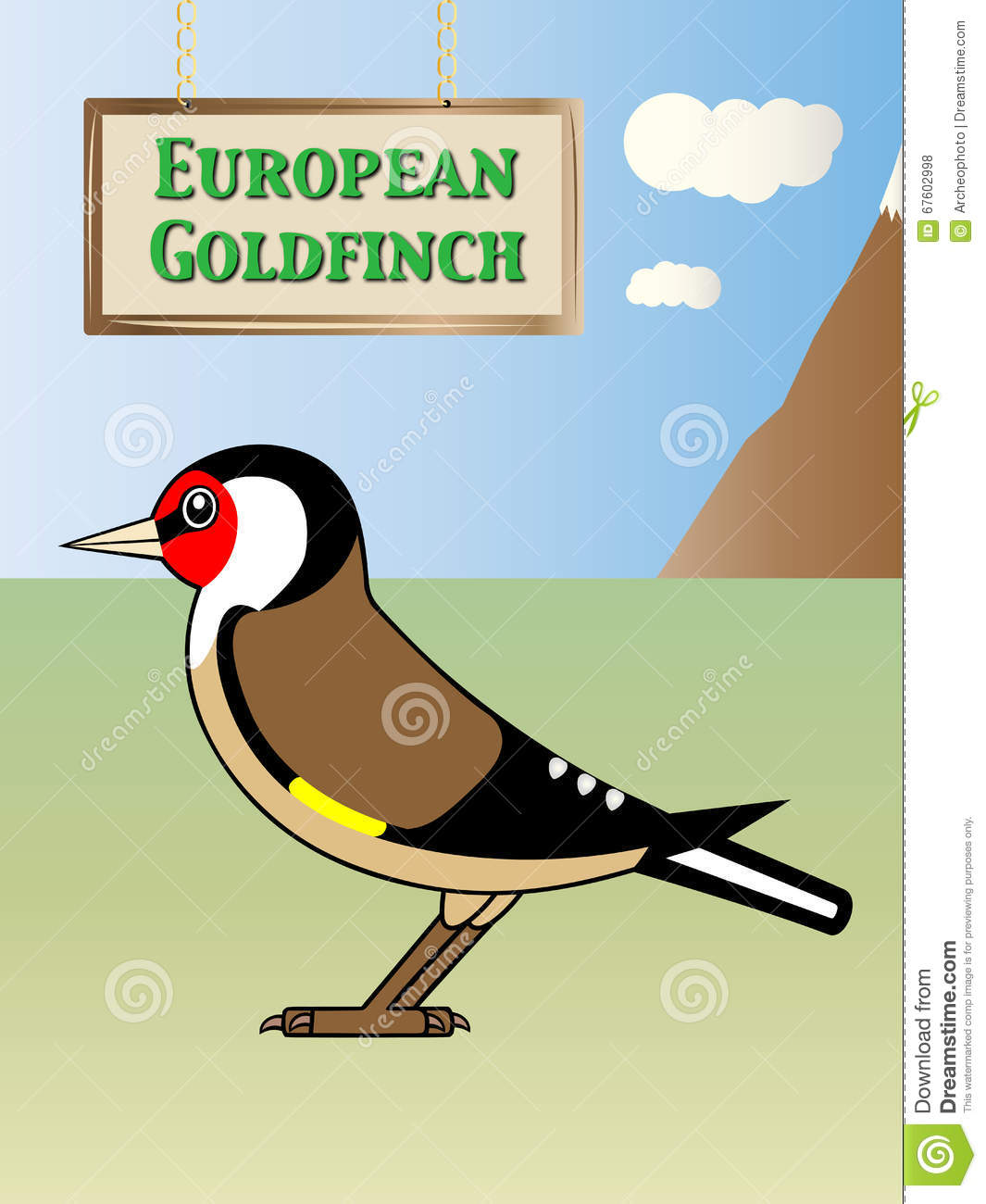European Goldfinch Stock Vector.