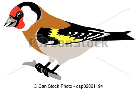 EPS Vectors of european goldfinch side view isolated image.