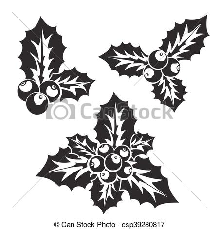 Vector Clip Art of Christmas holly or European holly silhouette.
