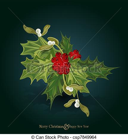 Drawing of christmas background with sprig of European holly (Ilex.