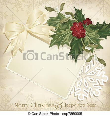Stock Illustrations of vintage christmas background with sprig of.