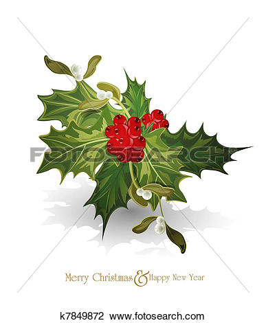 Clip Art of christmas background with sprig of European holly.