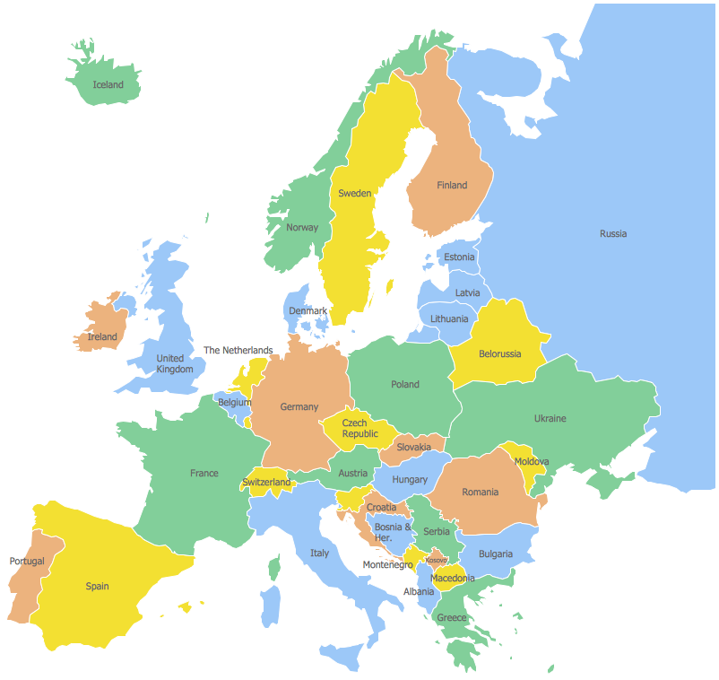 Labeled europe map clipart.