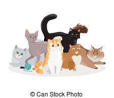 Vector Clip Art of European Shorthair Cat Flat Vector Illustration.