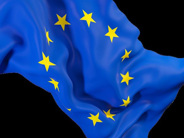 Waving flag closeup. Illustration of flag of European Union.