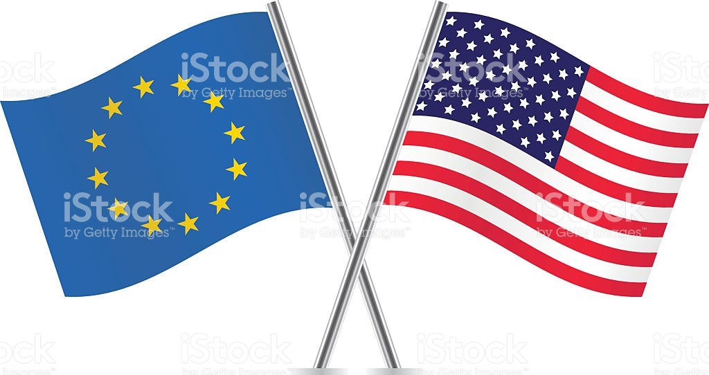 European Union And American Flags stock vector art 502222719.