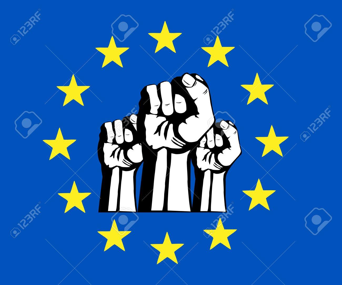 European Union Fist, Flag, Protest Royalty Free Cliparts, Vectors.