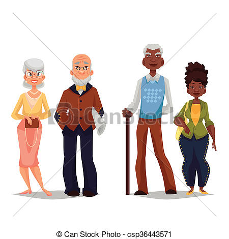 Stock Illustrations of Overage two pairs, Africans and Europeans.
