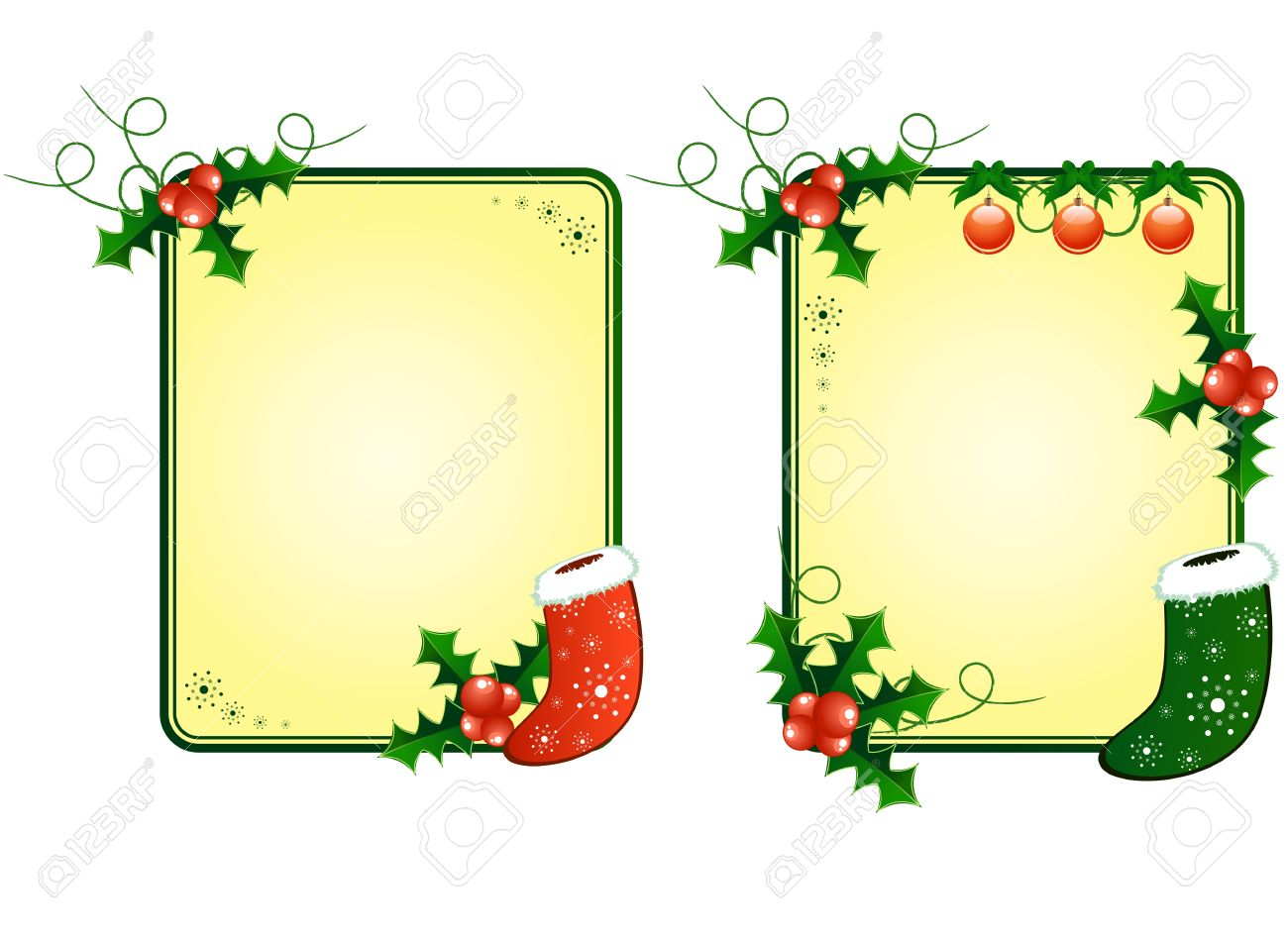 Vector Christmas Cards With European Holly And Sock Royalty Free.
