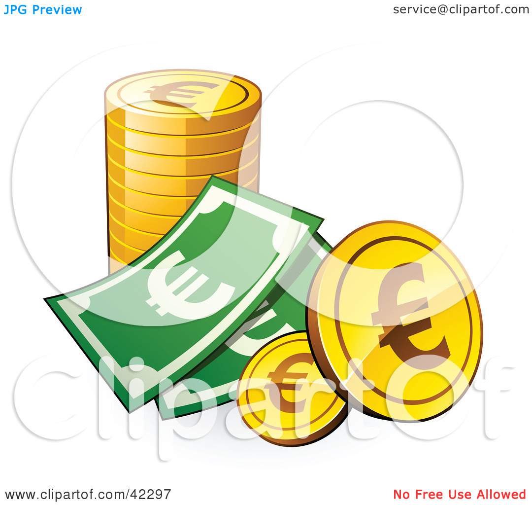 Clipart Illustration of a Dollar Bill With A Stack Of Euro Coins.