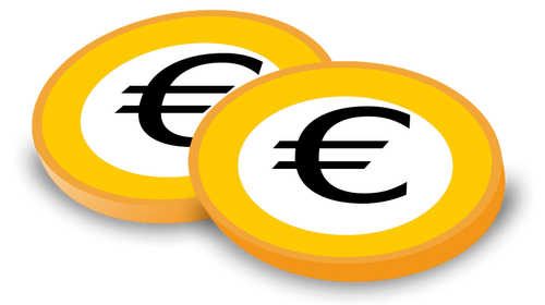 Euro Coins Vector Graphics.
