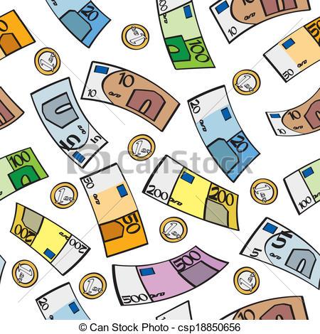 Clipart Vector of Seamless Cartoon Euros.
