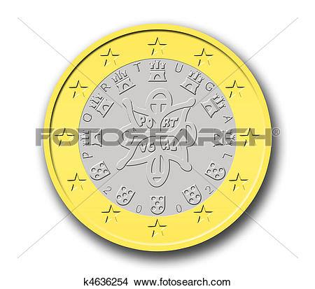 Drawings of Portuguese One Euro Coin k4636254.