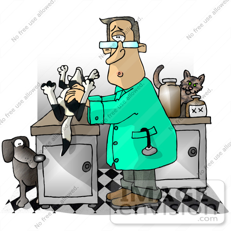 Shocked Veterinarian Man in an Exam Room With a Dead Dog Clipart.