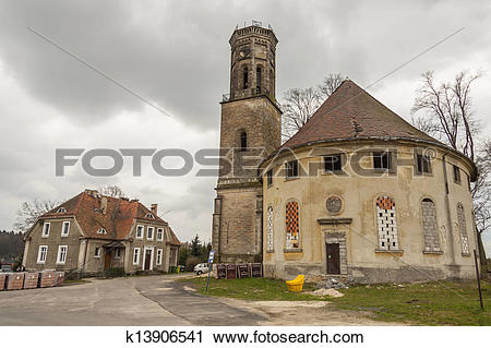 Stock Photography of Outdoor of old Evangelical church.