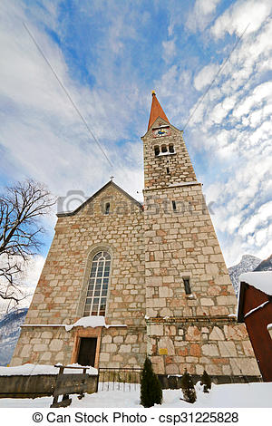 Stock Photo of The Evangelical Church, Hallstatt.