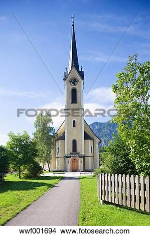 Stock Photo of Austria, Salzkammergut, View of evangelische kirche.