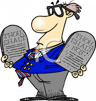 Cartoon of an Evangelist Holding Commandment Stones.