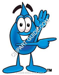 Cartoon Water Drop Character Pointing Sideways Clipart Picture.