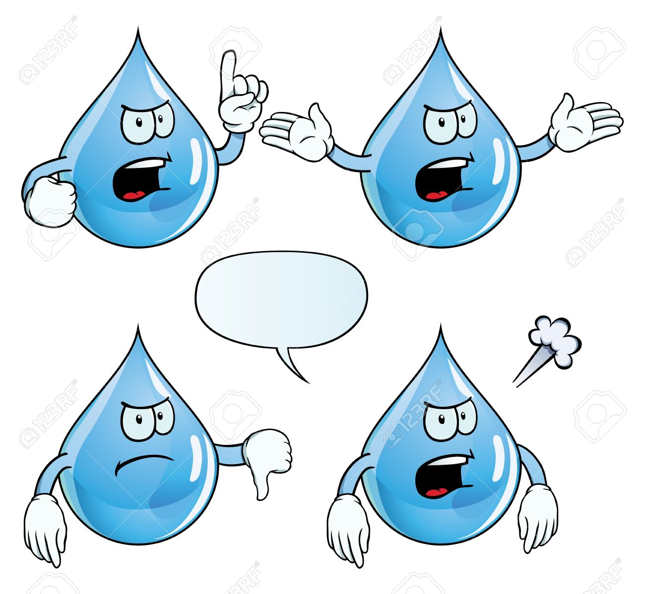 Angry Water Drop Set Royalty Free Cliparts, Vectors, And Stock.