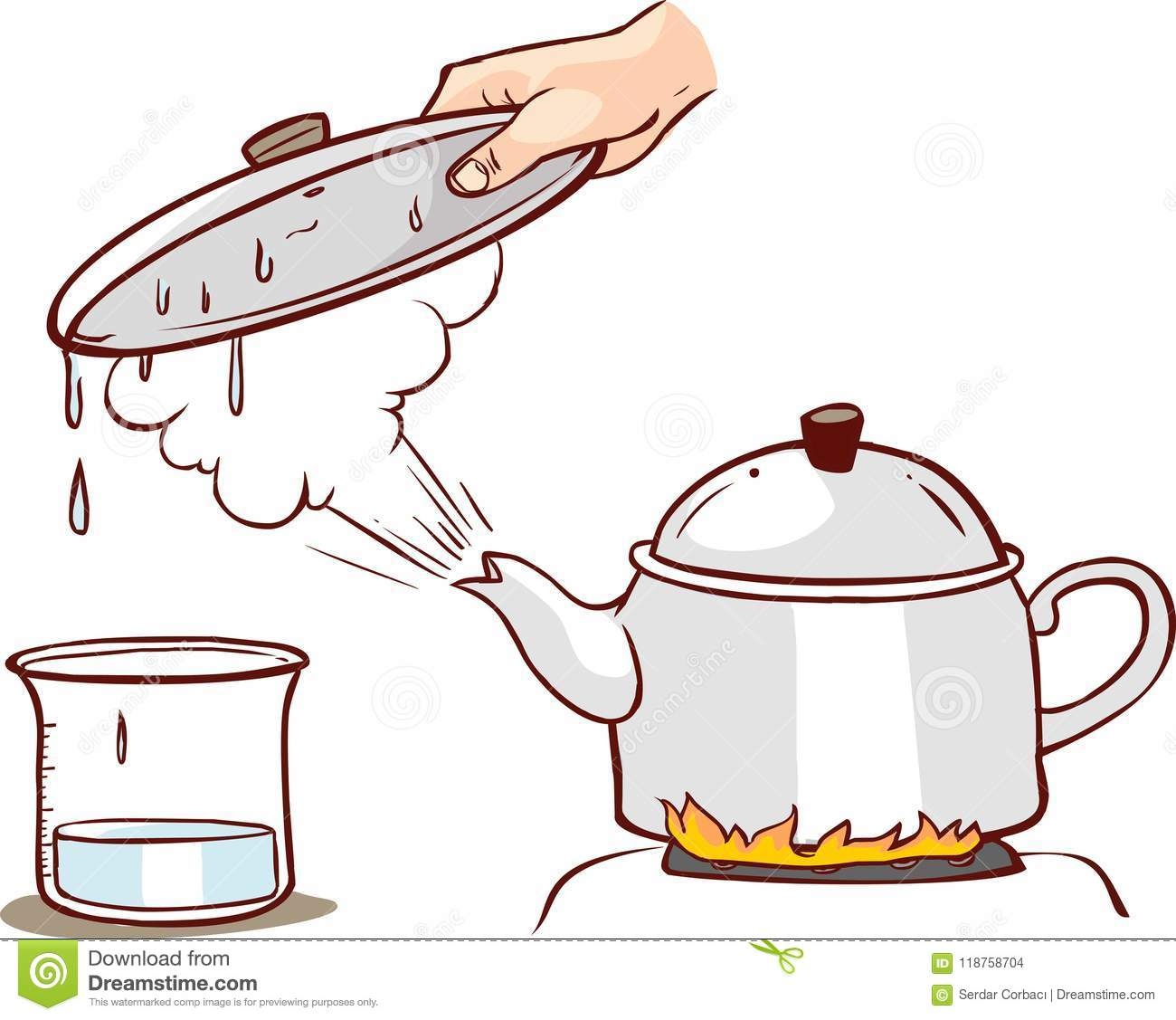 Teapot Clipart Evaporation Water Illustration Stock Vector.