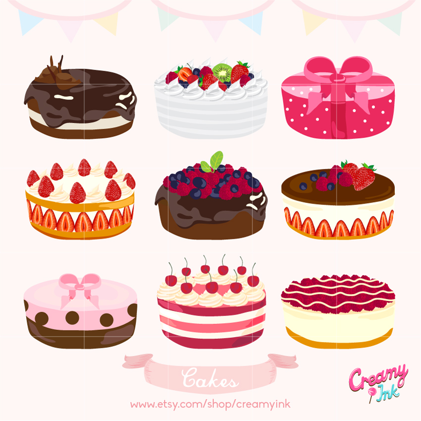 Birthday Cake Digital Vector Clip art/ Wedding Cakes Digital.