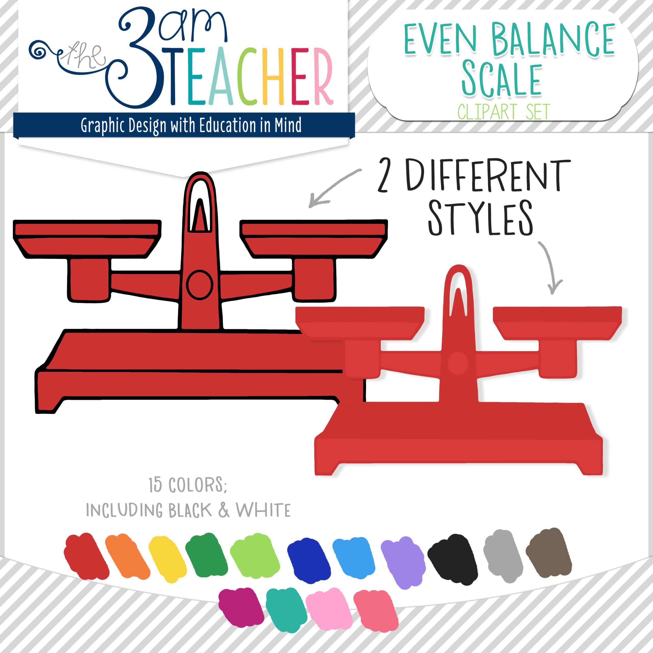 Even Balance Scales Digital Clipart Set.