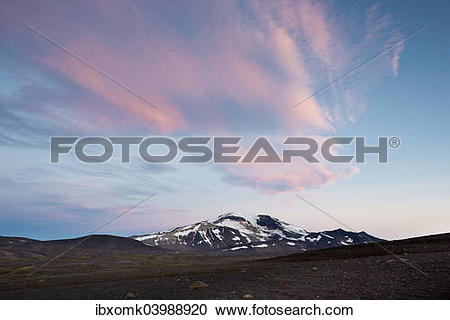 """Stock Photography of """"Pink coloured clouds over Mt Snaefell."""