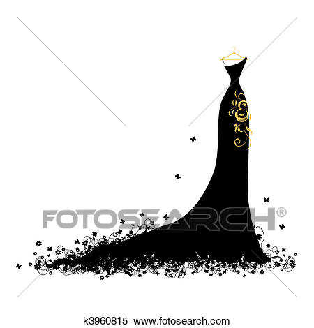Evening dress black on hangers Clipart.