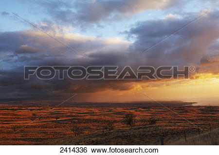 Stock Images of Evening glow over dry landscape, South Kohala.