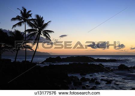 "Stock Images of ""Evening Glow In Pupukea Beach, Hawaii, U.S.A.."