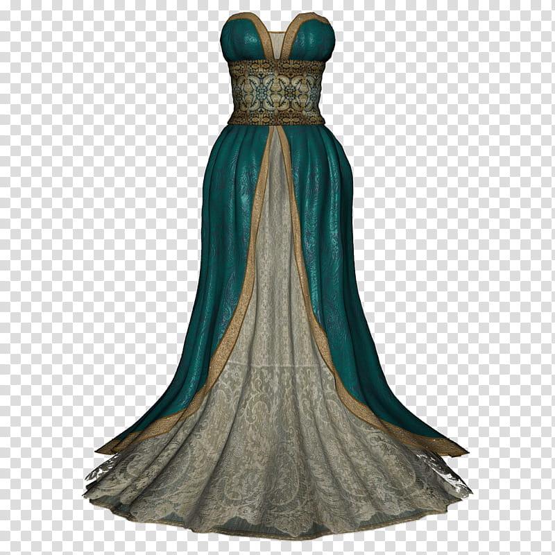 Ball Gown, women\'s green sweetheart gown transparent.