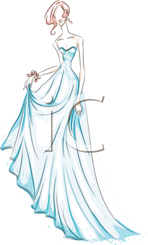 Royalty Free Clipart Image of a Woman in an Evening Gown in.