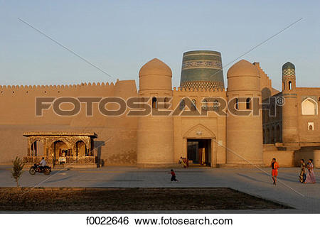 Stock Images of Uzbekistan, Khiva, Ota Darvoza (west gate) and.